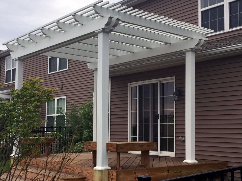 Patio with pergola installed